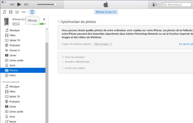 transférer de photos iPhone vers ordinateur avec iTunes