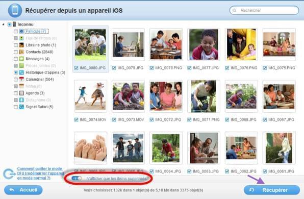 récupérer les photos effacées d'un iPhone