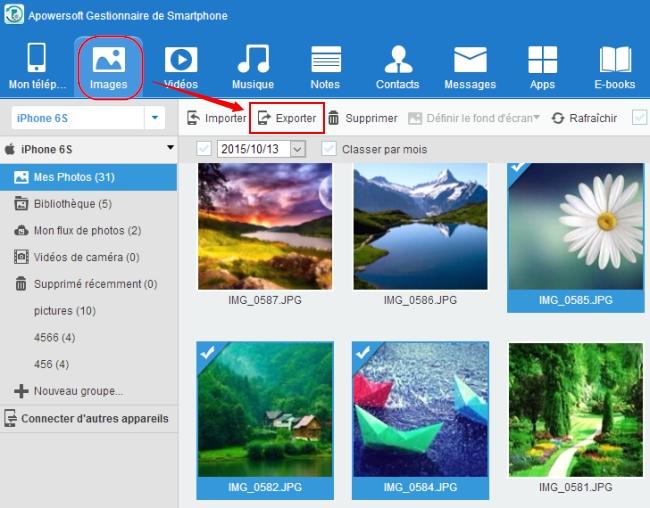 transférer photos sur iPhone vers PC